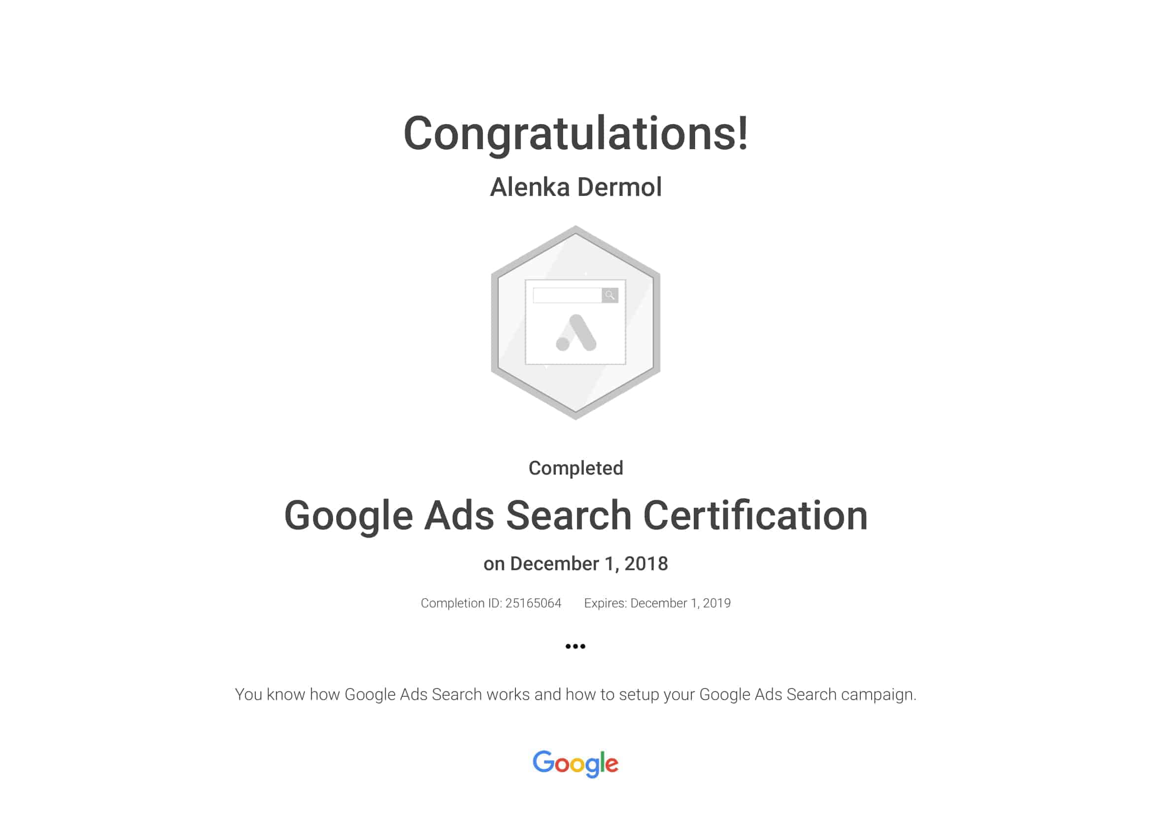 Google-Ads-Search-Certification-Alenka-Dermol